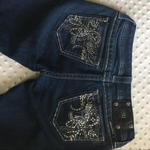 Miss Me sz 27 dark wash bootcut jeans bling E